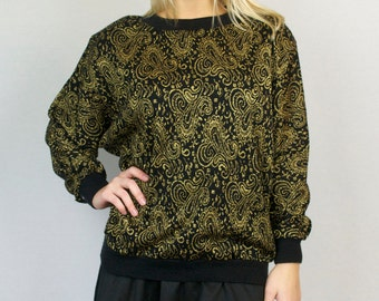 Vintage 80s Black Gold Threaded Funky Print Crewneck Pullover Winter Sweater