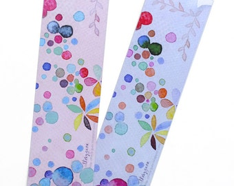 Multicolor dot watercolor bookmark, Pastel dots paper bookmarks, Rainbow colorful bookmark, Book lover gift, Dot art print, Cute stationery
