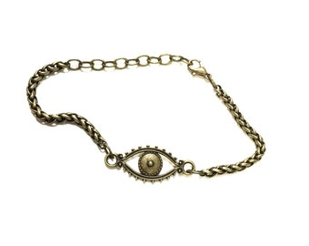 Nazar - a petite antiqued brass evil eye protection bracelet talisman