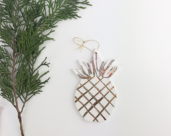 Pineapple Ornament White And 22k Gold Minimal Holiday Christmas Gift Keepsake Decor Porcelain Pottery MADE TO ORDER