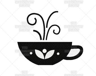 Tea crafts, tea cup embroidery, tea cup designs, tea cup symbols, Nice Hot Cup of Tea, Machine Embroidery, Pattern