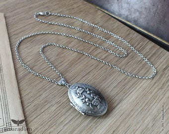 Oval Floral Locket, Victorian Style Locket on Long Chain, Antique Silver Locket Necklace, Keepsake Lockets, Bridesmaid Gifts, Handmade UK