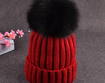Black Pom Pom Hats Fluffy Large Puffs Women Red Wool Cotton Knit Beanie for Women&Children Black big Fox Plush Ball Beanies