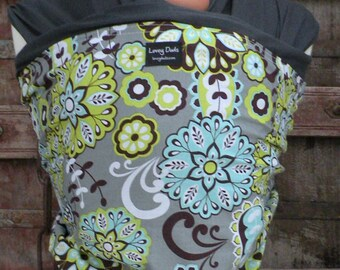 SUPER LIGHTWEIGHT-Baby Sling-ORGANIC BAMBoO Baby Wrap Sling Carrier-Floral on Gray-One Size Fits All-Newborn to Toddler-DvD Included