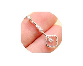 Sterling Silver Key Pendant ,  Faceted  Cubic Zirconia  Key Pendant ,  Sterling Silver CZ  Pendant , Sterling Silver Chain