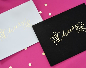 Foil Stamped Cheers card with Envelope, 1 CT. Gold, Modern Typography
