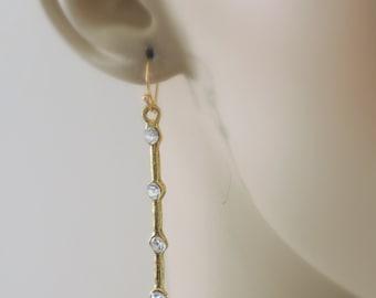 Gold Earrings - Stick Earrings - Crystal Earrings - Nature Earrings - handmade jewelry