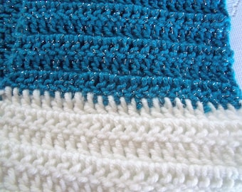 Blue and White Infinity scarf  hand-crochet