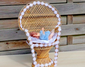 Doll Wicker chair , Vintage Doll Wicker chair , Doll bed, Wicker Doll Bed,Doll Furniture