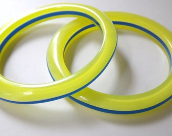 Laminated Lucite Bangle Bracelets 80s New Wave TWO Vintage Yellow Lucite BLue Lucite