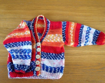 Fire-stripe Girl's cardigan for ages 12-18 months