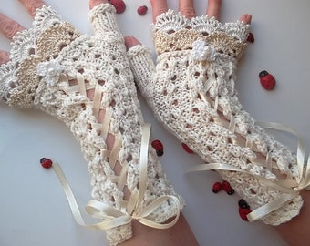 Crocheted Cotton Gloves L Ready To Ship Victorian Fingerless Summer Women Wedding Lace Evening Hand Knitted Opera Bridal Ivory Corset B80