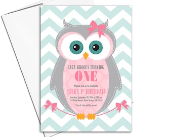 Baby girl first birthday invitation | Owl birthday party invites for girls | pink and mint | printable or printed - WLP00357