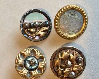 4 Victorian Shell Buttons - Mother of Pearl with brass and steel