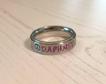 Personalized Stainless Steel Hand Stamped Name Ring