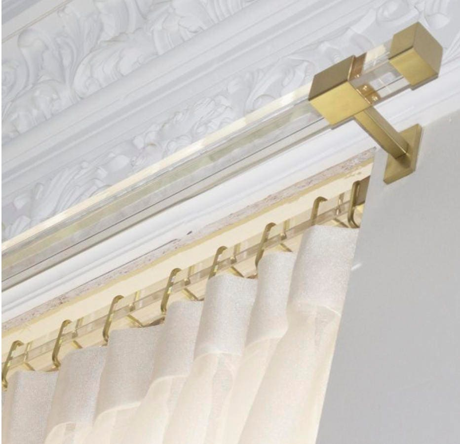 Lucite Curtain Rod Brass Gold Rectangle Square Cube Curtain