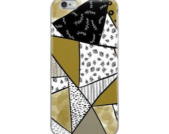 Modern geometric floral design iPhone Case cell phone modern trendy black