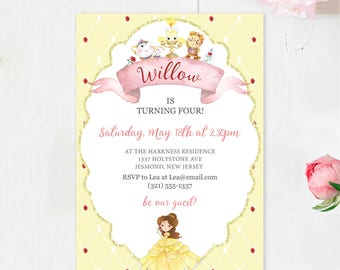 Beauty and the Beast Birthday Invitation - Belle Invitation - Beauty and the Beast Invite - Belle Birthday Invite