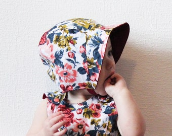 12-18 - Baby reversible bonnet, Floral linen, Hat, Wine red, Navy, Coral, Cotton, Sunhat, Vintage, Blue, Retro, Summer, Adorable, Girly