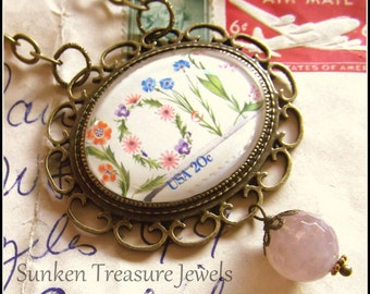 Vintage LOVE Stamp Glass Cameo Necklace, Downton Abbey Necklace, LoveNecklace, Vintage LoveCameo, US Postage Stamp LOVE, I Love You Necklace