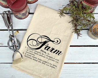 Flour Sack Towel, Flour Sack Dish Towel, Flour Sack Kitchen Towels, Tea Towels, Farmhouse Decor, Dish Towels, Housewarming Gift, Farm Script