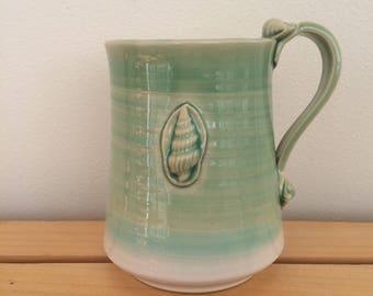 Ceramic Mug, Pottery, Handmade, Coastal Mug, Shell Mug, Beach Mug, Gift for Beach Lover, Gift for Nature Lover, Green Gift, Ready to Ship