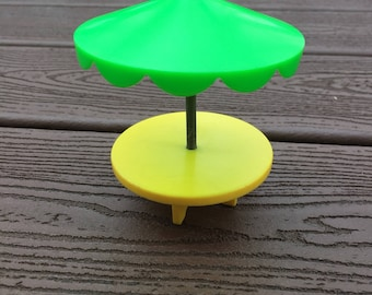 Vintage Fisher-Price Little People Green and Yellow Umbrella Table for Village