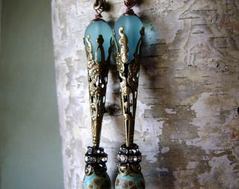 mixed media earrings, aqua turquoise, lampwork headpins, edgy romance, assemblage earrings, bohemian earring, unique jewelry, AnvilArtifacts