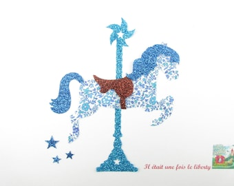 """Applied fusing liberty carousel horse """"The carousel"""" fabric liberty Katie and Millie and flex glitter patch iron on patch"""