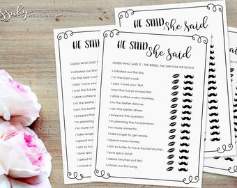 He Said She Said Bridal Shower Game - INSTANT DOWNLOAD - Printable Wedding Shower Games / Sassaby Posters