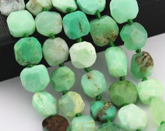 Faceted Chrysoprase Square Shape Loose Beads Size Approximate 14mm 15.5'' Strand.  I-CHR-432