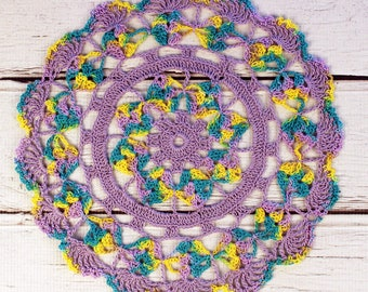 Crocheted Easter Violet Turquoise Yellow Table Topper Doily- 10 1/2 inches