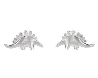 Super Cute Textured Finish Little  Stegosaurus Dinosaur Stud Earrings in Sterling Silver