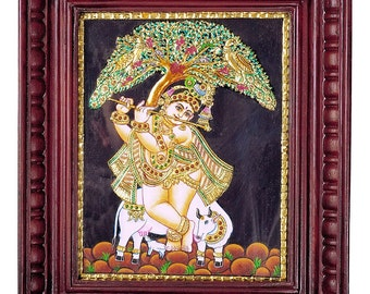 Made to order - Krishna with Calf/Venugopal- Tanjore painting