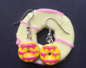 Party Ring Earrings, Polymer Clay Biscuit Earrings