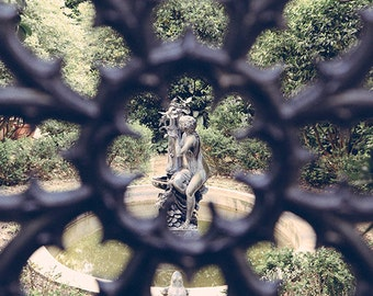 Savannah Fine Art Print, Garden Nymph Statue, Secret Garden Photography, Georgia Affordable Home Decor, Travel Photo, Romantic Wall Art