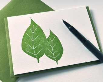 Letterpress Note Cards - Two Leaves Set of 6 Spring Trees