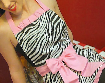 Zebra Apron, Pin up style APRON, Choose Your Color Trim, Well Made, Scotch Guarded