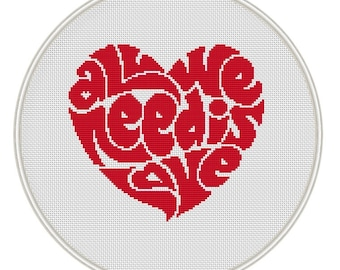 Heart cross stitch pattern, Instant Download, Free shipping, Cross-Stitch PDF, Valentine's day, All we need is love, MCS044