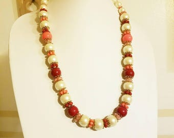 Strawberries and Cream Vintage Beaded Necklace