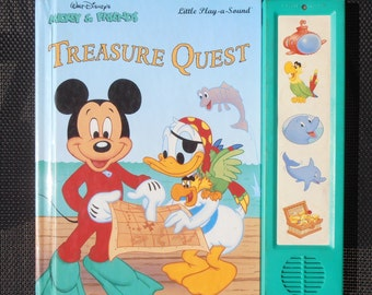 Mickey Mouse Book - Treasure Quest - Play a Sound Book - Walt Disney - 1996 - Children's Sound Book - Mickey Mouse - Donald Duck