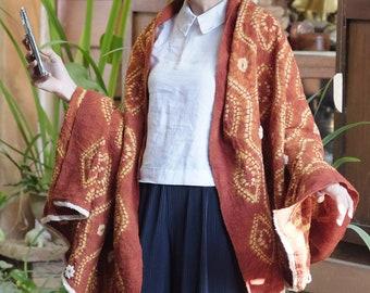 RB018ST [The Eyes] - Saffron Red Natural Dyed Shibori Fabrics