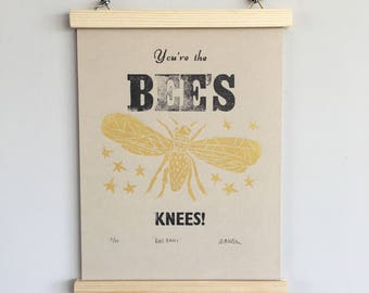 Giclée bee print, letterpress, A4 print, you're the bees knees, limited edition, typography, art print, home decor