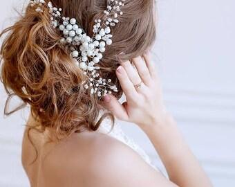 Crystal and Pearl Bridal Hair Piece, Wedding Hair Pieces, Bridal Hair Vine | Irynafleur