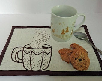 Coffee Break Large Snack Mat, Mug Rugs - Coasters - Hot Pads
