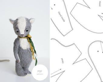 Pdf Sewing Pattern & Tutorial Stuffed Fox 8 Inches Stuffed Animal Pattern For Women Artist Teddy Bear Pattern Mohair Fox Pattern Soft Toys