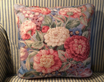 """Vintage LINEN PILLOW, 16"""" Spring Floral, Toss Pillow, Cushion, Spring, Blue, Pink, Flowers, Shabby Chic"""