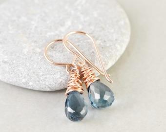 London Blue Topaz Drop Earrings, December Birthstone Jewelry, Blue Gemstone Earrings, Petite Earrings