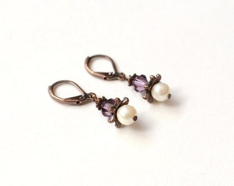 Amethyst Swarovski Crystal and Fresh Water Pearl Antique Copper Earrings, Elegant Earrings, Pearl Earrings, Christmas Jewelry, BFF Gift