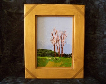 Daily Walk - Original acrylic palette knife painting - Size 5 x 7 - Frame 8 x 10